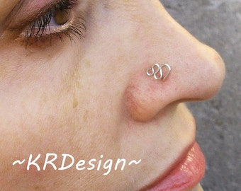 Sterling Silver-14K Gold-Snake-Nose Stud-Tragus-Earrings-Customized / Free US Shipping