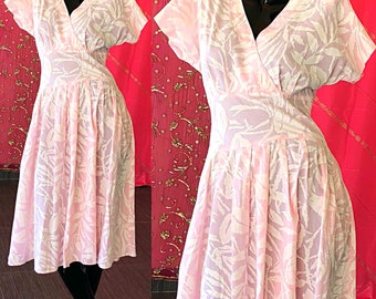 Psychedelic Dress Pink Prom Party Dress Vintage 80s Opps California Dress