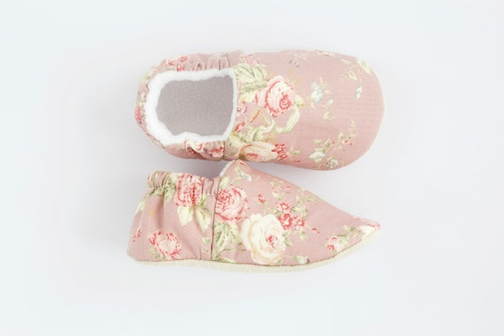Pink Floral Baby Shoes