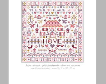 CROSS STITCH KIT No Place Like Home Sampler by Riverdrift House