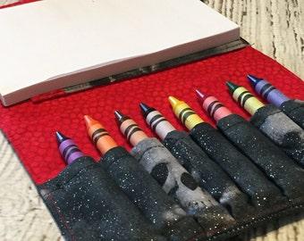Pirate Crayon Wallet. Crayon Roll. Crayon Organizer. Party Favor. Crayon Case.  Coloring Wallet.  Drawing Kit. Art Wallet. Crayon Tote.