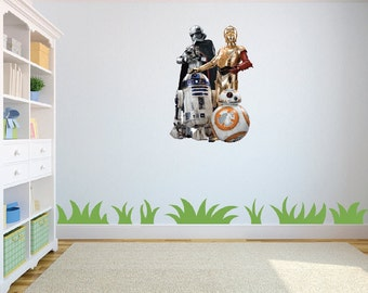 Star Wars Characters R2D2, CP30, Darth Vader & BB8 wall art/decal sticker childrens bedroom/playroom w46cm x h63cm
