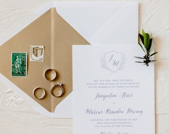 Monogram Crest Wedding Invitation Green and Gold Tuscan Rustic Wedding Invite SAMPLE