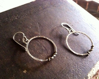 Sterling and Bronze Small Circle Hoop Earrings