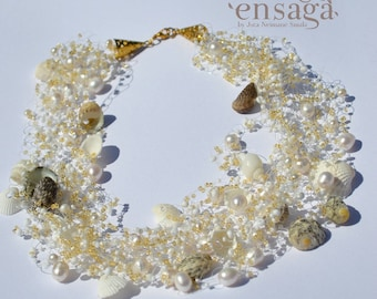 Shell Necklace, Freshwater Pearl Necklace, Freshwater Pearl Jewelry, Shell Jewelry, White and Gold, White Pearls Jewellery, Anniversary Gift