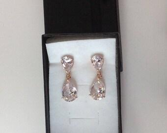 Bridesmaid earrings,  Rose gold dangle earrings, crystal earrings, wedding jewelry, brides earrings
