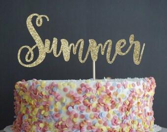 Gold Glitter Summer Cake Topper. Cake Decor.