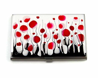 Business Card Case in Hand Painted Enamel Black and White Blossom Inspired Metal Wallet Personalized and Custom Color Options