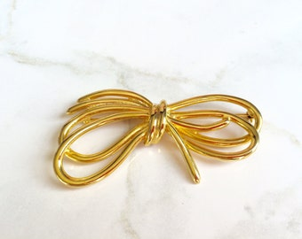 Vintage bow brooch, bow brooch-80s jewelry-feminine accessories