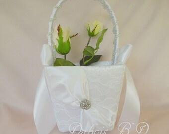 Lace flower girl basket, Flower girl basket, Ivory or White flower girl basket, Wedding basket, Wedding decorations