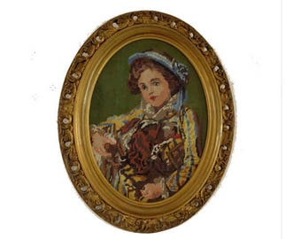 Vintage gobelin needlepoint of a victorian lady in oval gold frame