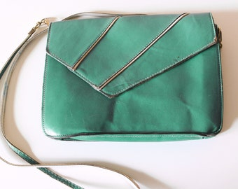 Vintage turquoise blue faux leather bag - 1970's