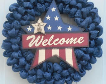 Americana burlap wreath July 4th wreath welcome wreath blue burlap Americana wreath Patriotic wreath Patriotic decor ready to ship