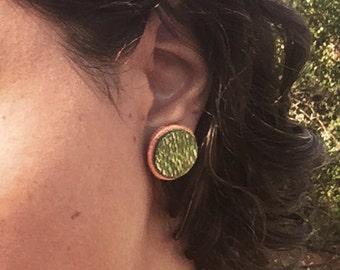 Wild Juju Green Salvaged Wood Stud Earrings- Dyed Silky Oak & Tasmanian Myrtle