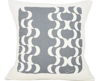 Decorative Pillow, Crescent Moon Design, Gray, 15 Inch, Hand Screened on Cotton Bark Cloth