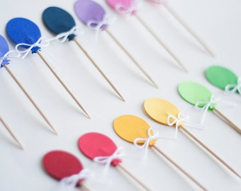 26 Balloon Cupcake Toppers Food Picks  Assorted Colors