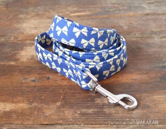 Leash for dog model Blue Ribbon. Handmade with 100% cotton fabric and webbing. Two width available. Wakakan