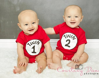 Set of Thing 1 Thing 2 or Twin 1 Twin 2 Onesies