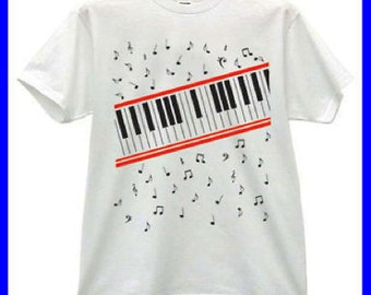 Piano Keyboard music notes Beat it video White T-Shirt