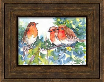 Original Unique watercolor Art, Small Bird Painting, Robin Painting Gift Art, Handmade Wall Decor, Small watercolor painting, Robin painting