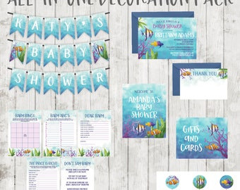 Under The Sea Baby Shower Decorations - Ocean Fish Baby Shower - All in One Decoration Bundle Pack - Print at Home - Banner, Games, Invites