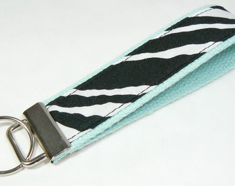 Key Fob Keychain Black White Zebra Stripes on Aqua Blue Cotton Webbing