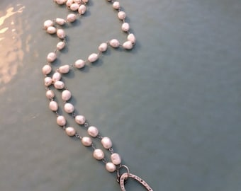 44 inch Freshwater Pearl Necklace with Baroque Pearl Pendant