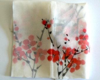 Cherry Blossom Silk Scarf Hand Painted on White Silk