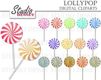 Lollipop Cliparts, Candy Clipart Digital Clip Art, Candy Cane Clip Art, Candy Lollipops, Peppermints, Digital Elements C287