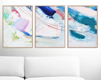 abstract art print set set of 3 prints ocean print digital