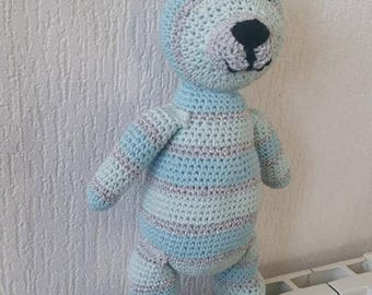 Cotton and wool hand crocheted soft toy