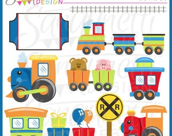 Train Clipart, Transportation Clipart, Party Clipart, Train Clip Art, Railroad Clipart, Tracks Clipart, Animal Train Clipart