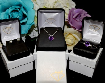 The Minas Gerais Amethyst Collection.  Set includes all pieces (Ring, Necklace, Earrings) at a discount. Amethysts. Ring Size 6.5 Only.