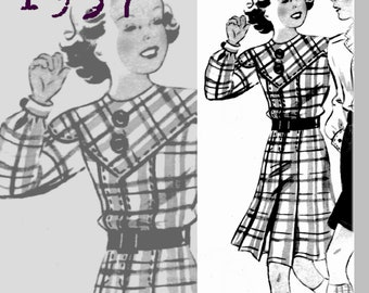 Yoked Dress for 9 year old girl - 1930's - Vintage Reproduction PDF Pattern - made from original 1937 Pattern