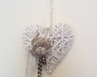 Wicker heart with burlap flower