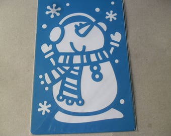 x 2 large mixed stencils depicting snowmen 21 cm