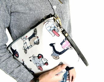 Wristlet clutch bag Travel makeup pouch Womens zipper pouch Women's accessories case Gifts her Travel large wristlet Clutch bag women's
