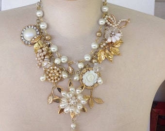Double strand pearl and gold assemblage necklace