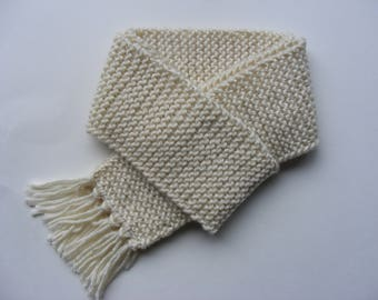 Cream Simple Childs Scarf Solid Color Scarf Hand Knit Scarf for Kids Ivory