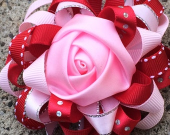 Red Christmas Hair Bow Loopy Flower Hair Bow  ,Red and White hairbow  Hair Bow