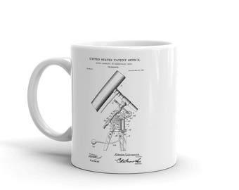 Telescope Patent Mug - Telescope Mug, Vintage Telescope,Patent Mug, Old Patent Mug, Old Telescope, Astronomy Mug