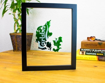Carlsberg Denmark- Custom Beer Can Art Hung in a Float Frame- Danish Pride- Unique Gift for you Man Cave or Bar!