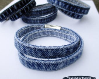 Denim Wrap Bracelet - Handcrafted from Blue Jeans - Magnetic Clasp