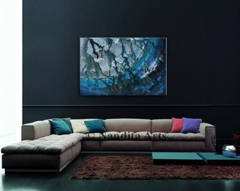 Turquoise Wall Art ABSTRACT PAINTING, Huge painting, abstract modern art, contemporary Art, Wall Hanging Decor, Ocean, Teal Artwork