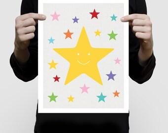 stars printed artwork. colourful space themed nursery art children baby girl boy gender neutral wall art multi-colored yellow rainbow bright
