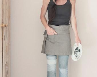 Gray colored linen half-apron, Pre-washed bistro apron, Barista apron, Eco friendly