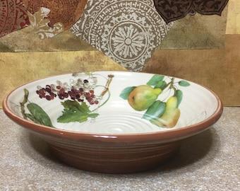 "Lovely Ceramisia  Italian 9.5"" Fruit Motif Serving bowl"