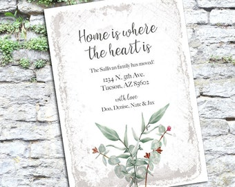New house, new address, new home, we've moved digital invite, printable invitation