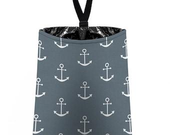 Car Trash Bag // Auto Trash Bag // Car Accessories // Car Litter Bag // Car Garbage Bag -  Anchors - Dark Grey White - Navy Sailor Nautical