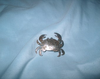 Vintage Fine Jewelry Sterling Silver Crab Brooch Pin, Far Fetched, 925 Marked